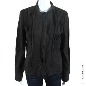 T TAHARI Dark Gray Structured Pleated Front Jacket